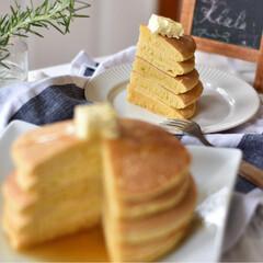 手作りスイーツ 土曜の朝ごはん。 豆乳使ったパンケーキ。 (3枚目)