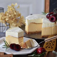 お菓子作り/手作りスイーツ/おうちカフェ/手作りお菓子/手作りケーキ ダブルチーズケーキ。(2枚目)