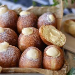 手作りパン/手作りスイーツ/手作りお菓子/手作りおやつ クリームドーナツ。 ディプロマットクリー…