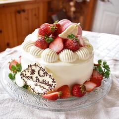 手作りお菓子/手作りスイーツ/手作りケーキ/グルメ/フード/スイーツ/... 娘3と義母の共通バースデーケーキ。