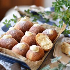 手作りパン/手作りスイーツ/手作りお菓子/手作りおやつ クリームドーナツ。 ディプロマットクリー…(2枚目)
