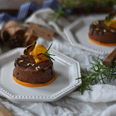 手作りお菓子/手作りケーキ/お菓子作り/おうちカフェ/おうちごはん レンジで作るチョコレートチーズケーキ。