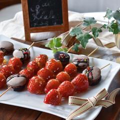 手作りスイーツ/手作りケーキ/手作りお菓子/手作りおやつ いちご飴🍓 何気に難しい…