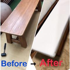 オットマンDIY/椅子をリメイク/リメイク/収納/DIY リメイクDIY第2弾です!! 先日完成し…(1枚目)