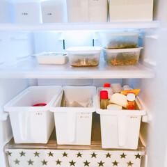 ホワイト収納/冷蔵庫の中/冷蔵庫/冷蔵庫収納/星柄/収納/... 冷蔵庫✩  もっと綺麗に収納したい···…