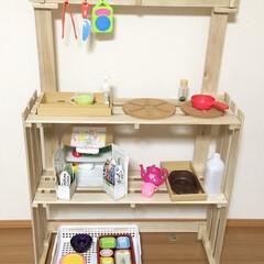 おもちゃ/子供/お店屋さん/おままごと/キッチン/DIY/... ホームセンターで購入した大きめのすのこ4…