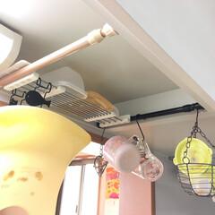 吊り棚/ちょい置き/簡易/突っ張り棒/台所/DIY/... アイデア投稿《6つ目》 台所備え付けの吊…