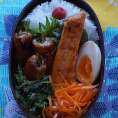 お弁当/グルテンフリー/はじめてフォト投稿 豚肉生姜巻き🐷。鮮魚さとうさんの甘塩鮭🐟…