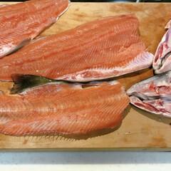 いくら/魚/鮭/秋 今日は、鮭を頂いたので、 朝から 解体シ…