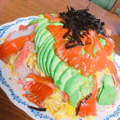 ちらし寿司/アボカド/ひな祭り/カラフル/サーモン/美味しい/... ひな祭りにちらし寿司ケーキを作りました!…