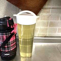 〔サーモス〕 真空断熱 スポーツボトル/水筒 〔ドットブラック 1.5L〕 幅9.5cm 軽量 保冷専用 魔法瓶式 〔アウトドア〕(弁当箱)を使ったクチコミ「水出しの緑茶やめました!  水筒にお茶を…」