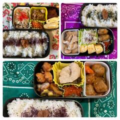 三島食品 ゆかり 大袋 60g 1袋(ふりかけ)を使ったクチコミ「最近の夫弁当。 肉だらけでボリューム満点…」(1枚目)