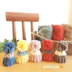 雑貨/ハンドメイド/はじめてフォト投稿/手編み/ミニチュア雑貨/ニット帽 この季節になると、気になるニット帽を ミ…