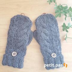 手袋/毛糸/棒編み/ミトン/手編みミトン/手編み/... ❄ミトン 編んでみました ・ 手編み帽子…