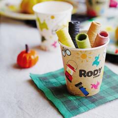 サンナップ/ロディ/ピクニック/ホームパーティ/ハロウィンパーティー/ハロウィンスイーツ/... ロディの紙コップにカラフルなロールクッキ…