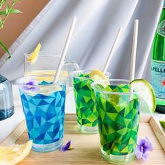 サンナップ/簡易食器/クリアーカップ/日本製/リサイクル/おうちカフェ/... 初夏にぴったりなカラーが映えるクリアーカ…