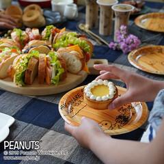 サンナップ/ペーパープレート/スヌーピー/ホームパーティ/女子会/おうちカフェ 可愛くデコレーションした手作りクッキーと…