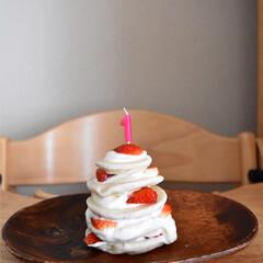 わたしの手作り/誕生日ケーキ/誕生日/1歳/米粉/水切りヨーグルト 娘の1歳の誕生日に❤︎  米粉のパンケー…