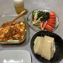 晩ごはん/簡単レシピ/作り置きレシピ/晩酌ご飯/ダイソー/暮らし/... 晩酌ご飯です。作り置きの麻婆豆腐、同じく…