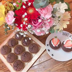 お菓子作り/カップケーキ/チョコマフィン/焼き菓子/ホットケーキミックス/簡単/... 先日作った チョコチップたっぷり カップ…(1枚目)