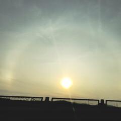 太陽/朝空/カコ空/ハロ 朝帰りの時にタクシーからwww こんなに…