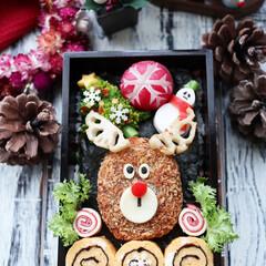 旦那弁当/トナカイコロッケ/クリスマス弁当/クリスマス2019/リミアの冬暮らし/お弁当/... 旦那さん弁当 コロッケでトナカイさん 卵…