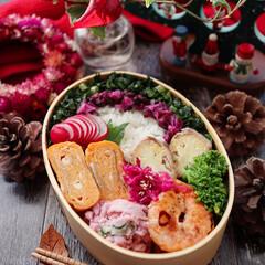 ランチボックス/わっぱ弁当/旦那弁当/クリスマス2019/お弁当/キッチン/... パパ弁当 黄色カリフラワーの肉巻き 海老…