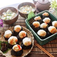 おうち時間/お昼ごはん/天ぷら/天むす/limiaキッチン同好会/お弁当/... 今日のお昼ごはんは天むす 小さめに握った…