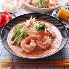ガスパチョ/素麺/お昼ごはん/おウチカフェ/至福のひととき/LIMIAごはんクラブ/... ガスパチョ風素麺でお昼ご飯 濃厚野菜ジュ…