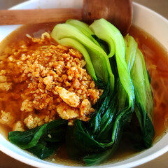 幸せ/時短料理/おいしい/節約/節約メニュー/節約料理/... 坦々麺(風??) チンゲン菜、美味しいの…