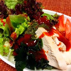 ダイエットレシピ/ダイエット/海藻/塩麹/チキン/サラダ/... こんばんは⸜(*ˊᗜˋ*)⸝  今日の夜…