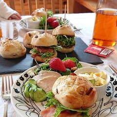 ワンプレート/お子様ランチ/ムーミン/ルイボスティー/紅茶/カフェごっこ/... 手作りパンでハンバーガーランチ♪   ク…(2枚目)