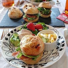 ワンプレート/お子様ランチ/ムーミン/ルイボスティー/紅茶/カフェごっこ/... 手作りパンでハンバーガーランチ♪   ク…