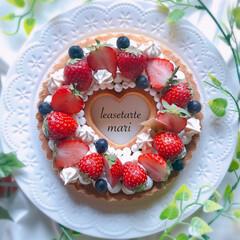 手作りタルト/リースタルト/お菓子作り/手作りケーキ/グルメ/フード/... ハートのリースタルト リースタルトの真ん…