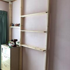 子供部屋リフォーム/子供部屋女の子/ラブリコ棚DIY/棚DIY/DIY/リフォーム/... ラブリコと2×4で棚を作りました。学習机…