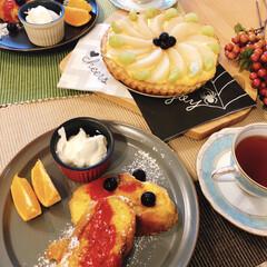 手作りごはん/梨デザート/フレンチトースト/夫作/朝ごはん/ダイソー/... 朝ごはん夫作♪  おすすめはラズベリーの…