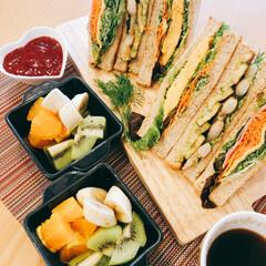 朝ごはん/サンドイッチ/夫作 朝ごはん夫作(^_^) サンドイッチ  …