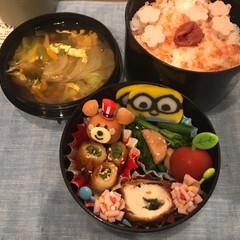 お弁当/旦那さん弁当/グルメ 今日は かくれミニオン弁当☆.。.:*・…