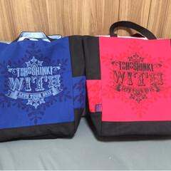 Tシャツリメイク/リメイクバッグ/東方神起 ようやく念願の?(笑)赤青揃い組。 赤バ…