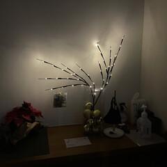 オシャレ/ライティング/マスク収納/アルコールスプレー/照明器具/玄関 奥さんが玄関の棚の上を飾り付けました。 …