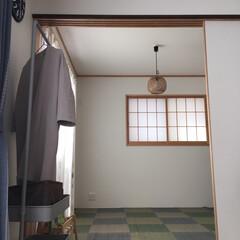 和室インテリア/和室/和室照明/ござ/花ござ/畳/... 我が家の和室です^ ^ 平凡な畳なので花…