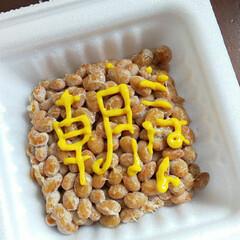 フード/納豆/朝ごはん 納豆に落書きしてみた。