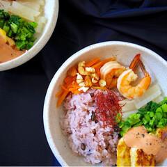 ヘルシー/野菜たっぷり/ピカタ/どんぶり/ワンプレート/朝ごはん/... 一応ピカタがメインのワンプレート?丼の朝…(2枚目)