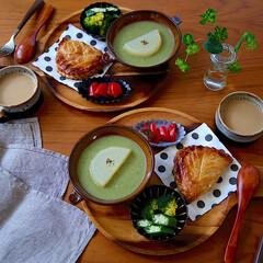 野菜たっぷり/ポタージュ/朝ごはん/ワンプレート/LIMIAごはんクラブ/おうちごはんクラブ/... ポタージュin大根煮とアップルパイ。 ポ…