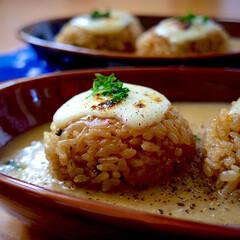 レシピ/アレンジ料理/おにぎり/ワンプレート/朝ごはん/ありがとう平成/... おにぎりinポタージュ!! おにぎりは、…