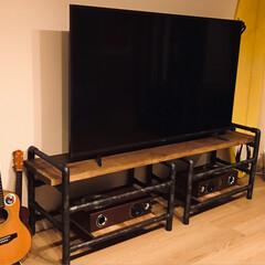 塩ビパイプ/テレビ台diy/DIY 流行りの塩ビパイプでテレビ台を作りました…