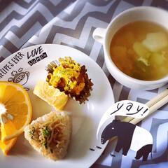 スープ/野菜/ダイエット食/ダイエット/玄米/ヘルシー/... 玄米おにぎりと野菜スープ🥬🍙😋