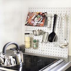 DIY/壁面収納/はしご型/収納/穴あけ不要/インテリア/... ごちゃつきがちなキッチン周りの収納を叶え…