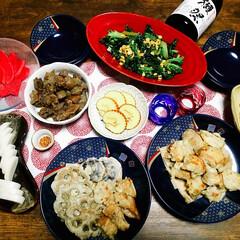 すじこん/天婦羅/お節リメイク/晩ご飯/おうちごはん/家庭料理/... 真夜中にこんばんは😃🌃  煮しめを天婦羅…
