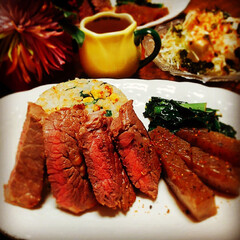 ステーキ/夕食/夕飯/晩御飯/炒飯/チャーハン/... おはようございます👋😃☀️ いつも、いい…